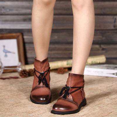 Leather Martin short tube tie back zip casual women's boots