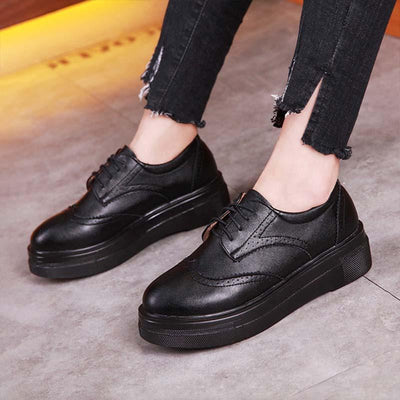 Solid color patent leather brock soft bottom with muffin thick bottom loafers
