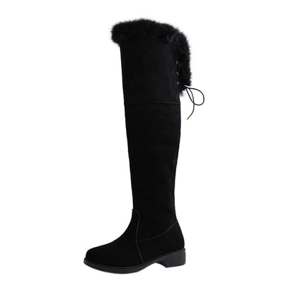 2019 winter new snow boots female long tube over the knee boots flat bottom warm thickening plus velvet high boots