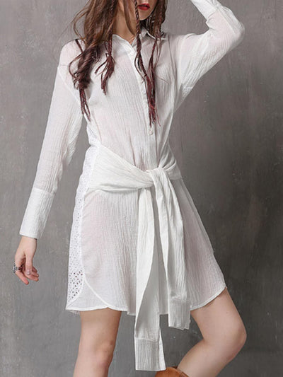 Vintage Hollow Patchwork Asymmetric Belt Long Sleeve Casual Dresses