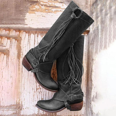 Tassel Buckle Belt PU Knee-High Chunky Heel Thick Boots