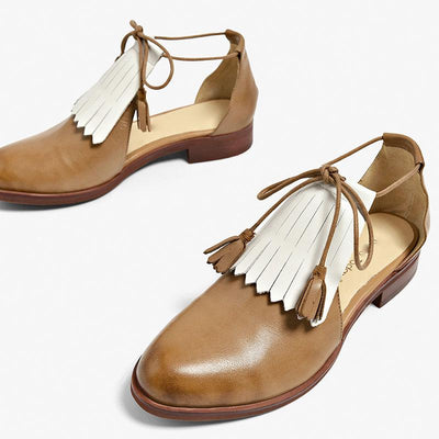 Tassel Color Block Lace-Up Hollow Low Heel Round Toe Leather Sandals