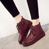Autumn and winter new leather hand-stitched lace-up flat boots