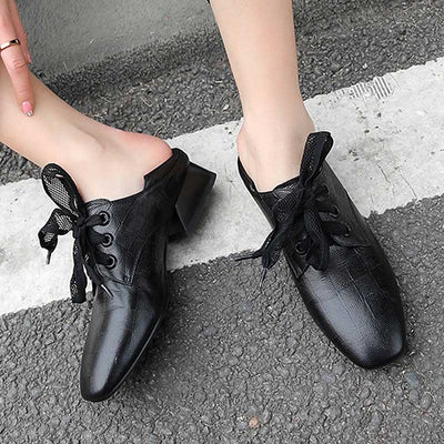 British style leather retro matte low cut thick heel shoes