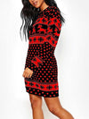 2019 autumn and winter new Christmas print long-sleeved women's dress