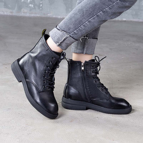 2019 autumn and winter new lace Martin boots first layer leather boots flat leather women's boots