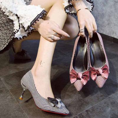 Wild shallow mouth striped butterfly fashion shoes