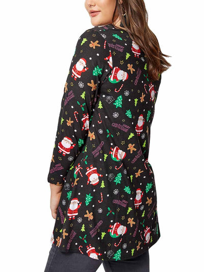 2019 autumn and winter new Christmas clothing print long-sleeved women's dress