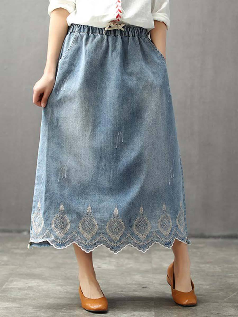 Vintage Embroidery Pocket Lace-Up Tight Tassel A-Line Skirts