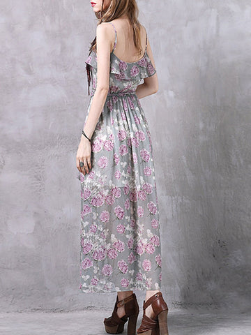 Vintage Embroidery Ruffle Spaghetti Split Backless Maxi Dresses