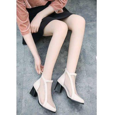 Hollow fashion wild mesh high heel bare boots