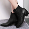 Black ankle set foot elasticated pointed thick with suede leather women's booties