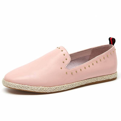 Round Toe Leather Slip-On Hand-Made Rivets Low Upper Flats