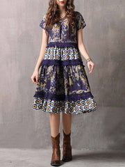 Vintage Floral Tassel Lace Round Neck Short Sleeve A-Line Day Dresses