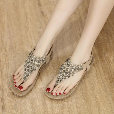 Solid Color Bohemian Style Rivet Flowers Flat Heel Sandals
