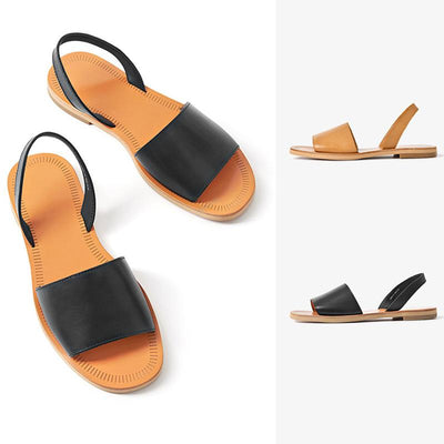 Casual Leather Solid Color Hollow Open Toe Ankle Strap Sandals