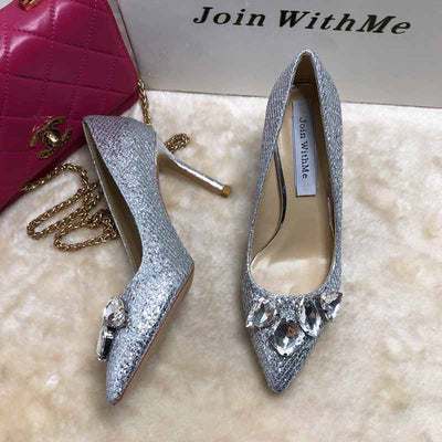 Shiny pointed rhinestone high heel women's shoes