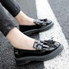 Fringed retro leather shoes