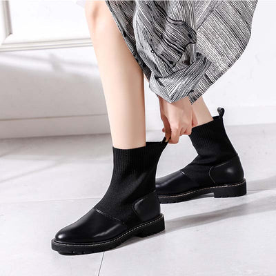 2019 autumn and winter new simple thick heel wild folding plus velvet stretch Martin boots