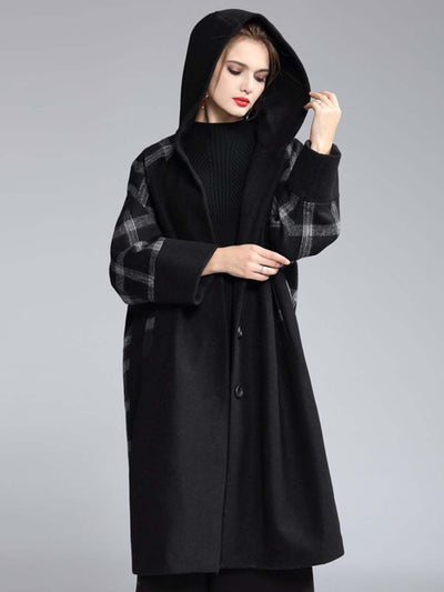 2019 autumn and winter fashion classic plaid stitching hooded loose long single single-breasted coat
