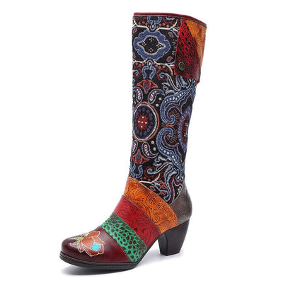 Color Block Knee-High Rose Flower Design Embroidery Chunky Heel Boots