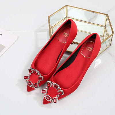 Rhinestone high heel red wedding shoes satin pointed shallow mouth single shoes