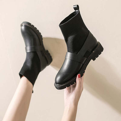 2019 autumn and winter new wild thick heel velvet stretch boots Martin boots