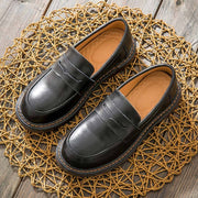 Leather Solid Color Round Toe Patchwork Slip-On Flat Heel Loafers