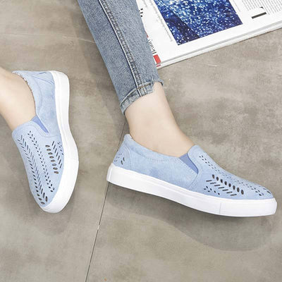 Solid Color Hollow Patchwork Round Toe Slip-On Suede Flat Heel Loafers