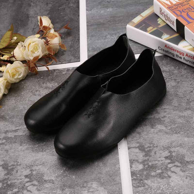 Flat-bottom retro literary dance leather shoes