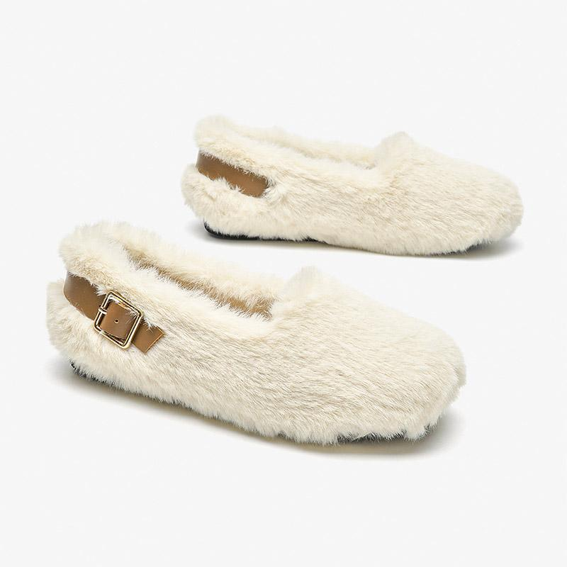 Autumn and winter wool shoes women's lamb wool boat shoes all-match velvet loafers