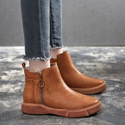 Autumn and winter flat retro Martin booties extra large short tube