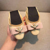 Little bee bow leather egg roll shoes