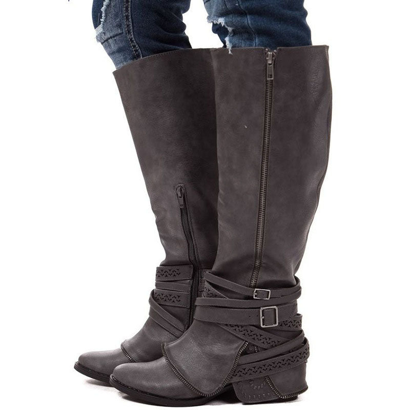 2019 AUTUMN AND WINTER  NEW FASHION LONG TUBE SIDE ZIPPER WOMEN'S BOOTS