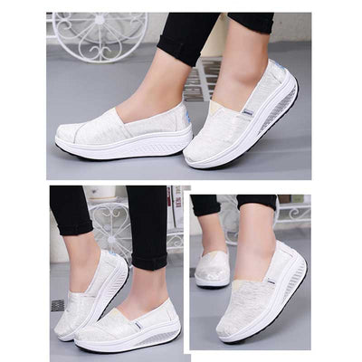 Canvas low wedge heel casual shoes