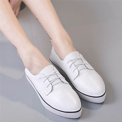 Pointed thick-bottom flat-bottom four seasons casual leather women's shoes