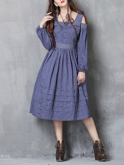 Sweet Cold Shoulder Pleated Lace Buttons Lantern Sleeve Denim Dresses