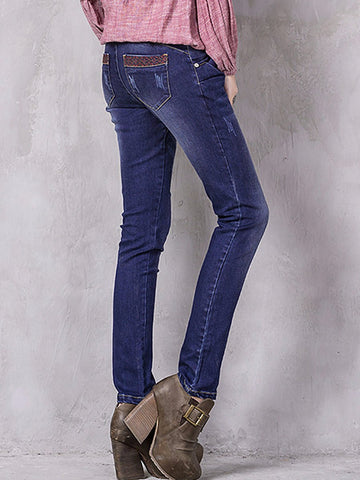 Ethic Embroidery Pocket Slim Patchwork Sequins Jeans