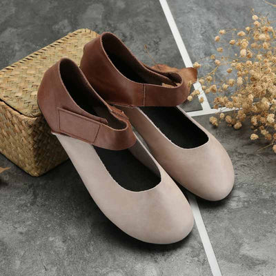 Round head literary velcro comfortable mother shoes