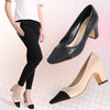 Small fragrance color matching shallow mouth square head two-color female high heels