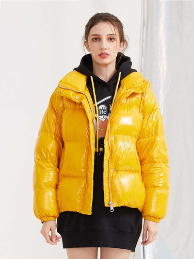 2019 winter down jacket female short section bright thick bread clothing Korean fashion casual jacket