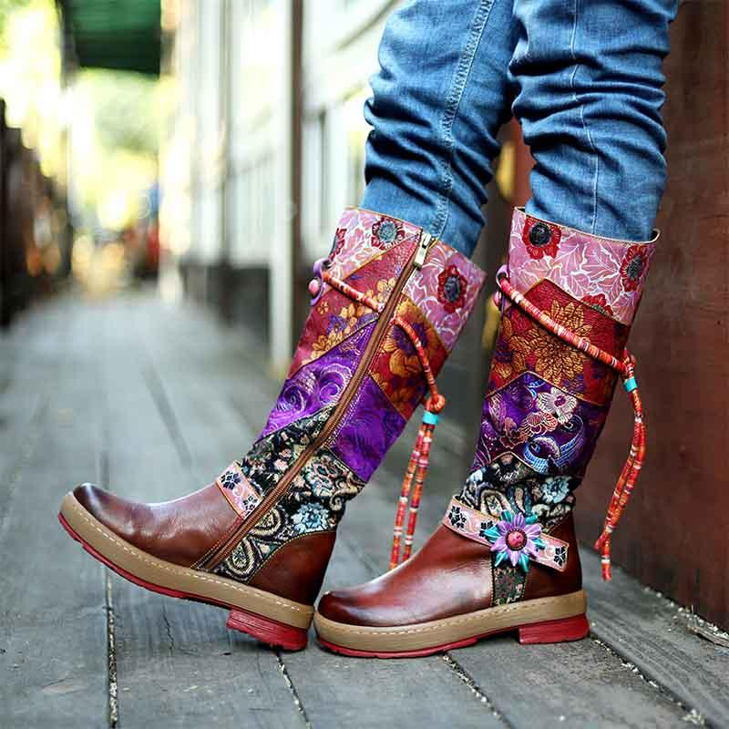 2019 New Round Head Comfortable Casual Retro Leather Women's Boots Knee Women's Flat Boots