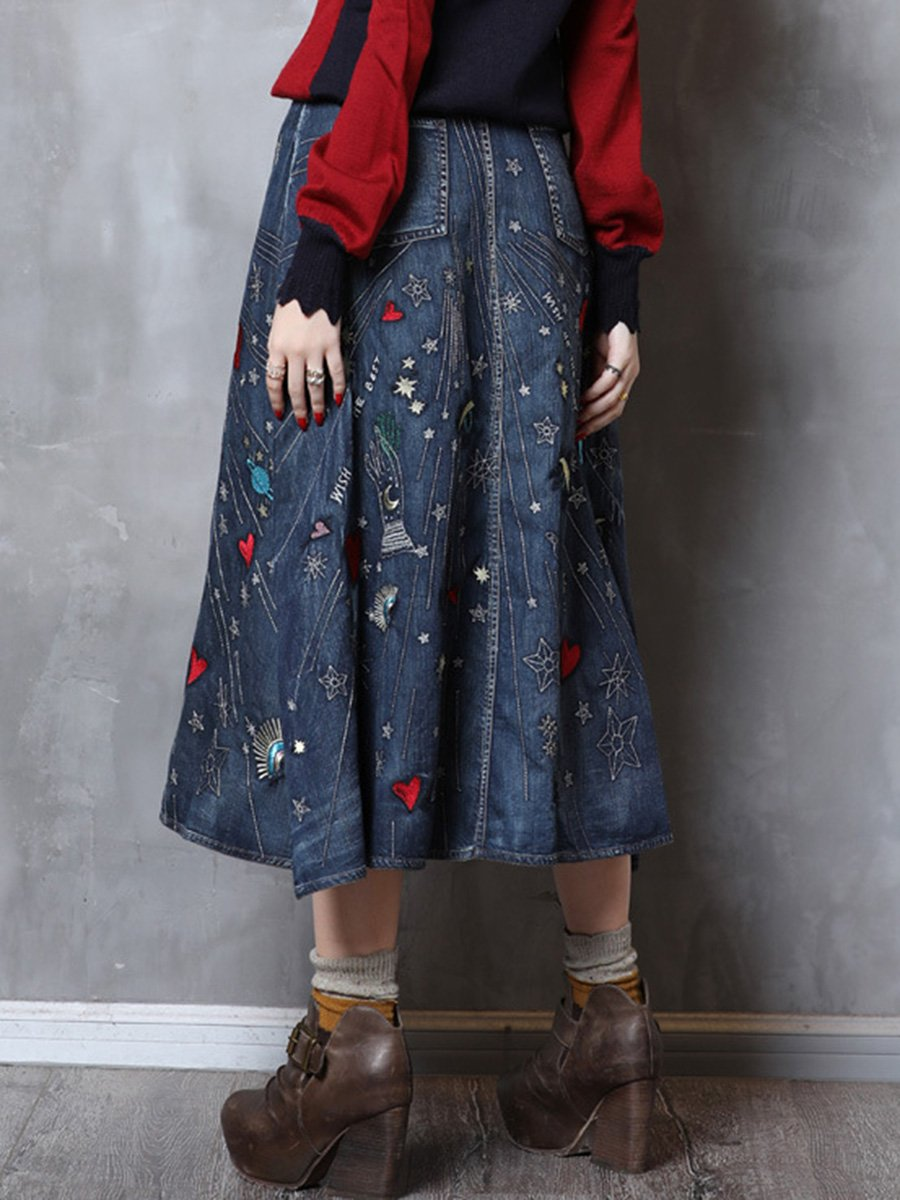 Embroidery Heart A-Line Patchwork Buttons Pocket Denim Big Hem Skirts