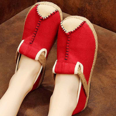 Contrast cloth shoes college wind hand stitching cotton linen shoes