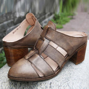 Vintage Hollow Slip-On Leather Round Toe Chunky Heel Sandals