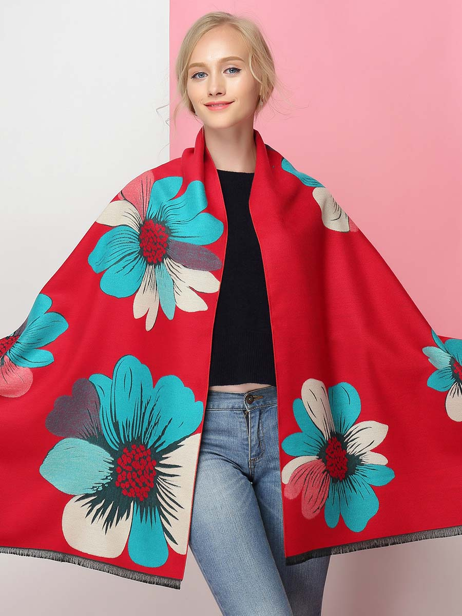 2019 new autumn and winter imitation cashmere scarf shawl ladies double-sided fashion warm thickening large flowers