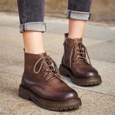 2019 autumn new retro casual wild leather handmade Martin boots