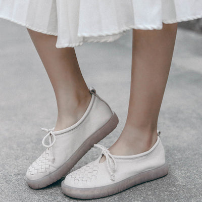 2019 retro ethnic style leather solid color woven personality women's casual shoes