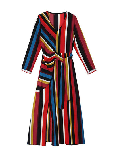 RainBow Stripes V-Neck Long Sleeve Asymmetric Patchwork Day Dresses