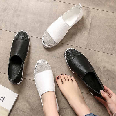 Fashion rhinestone ladies flat bottom loafers